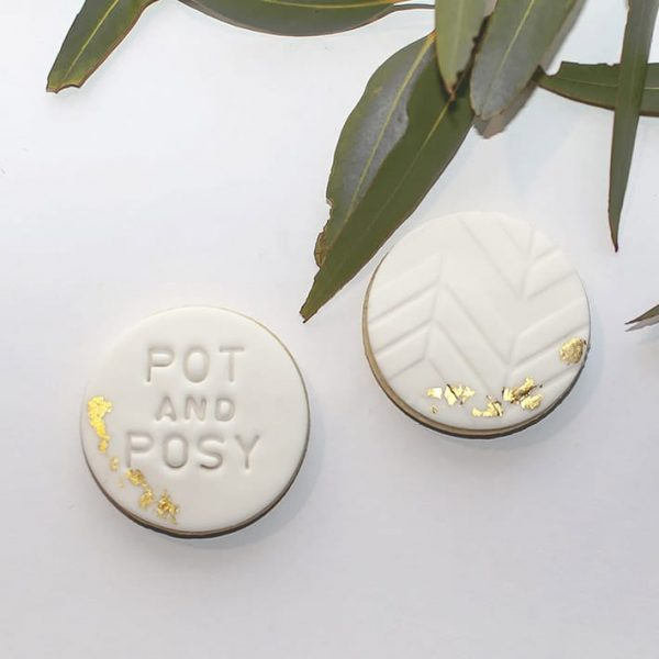 Pot and Posy Gold Foil Cookies