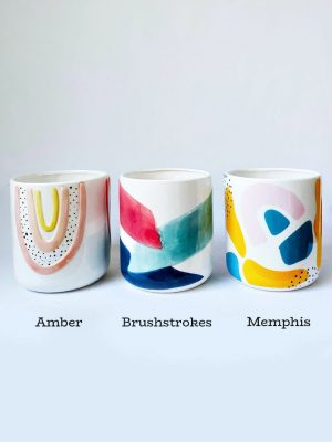 Pot Range Amber (L) Brushstrokes (C) and Memphis (R)
