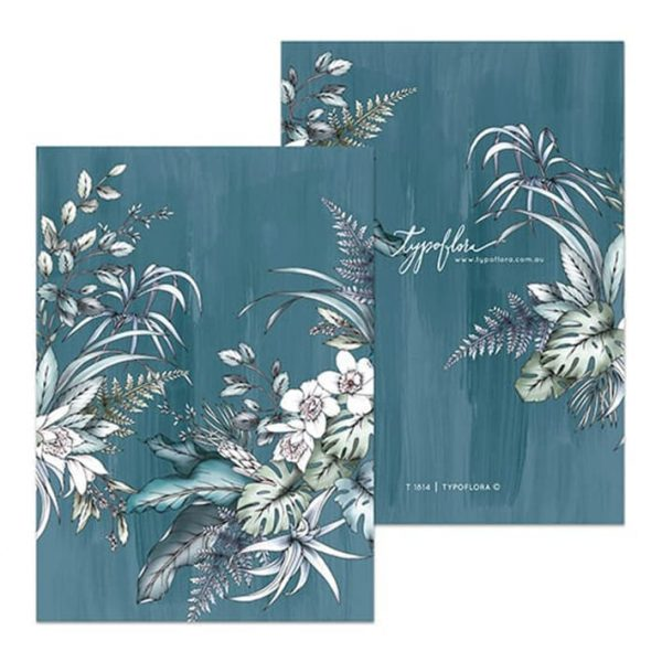 Teal Foliage Botanical Pocket Notebook
