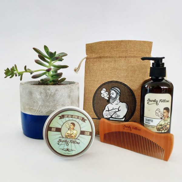 Groomed Fellow Gift Pack with a Succulent - Navy Blue Dipped Pot