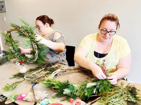 Making Christmas Wreaths - Pot and Posy Wreath Workshop