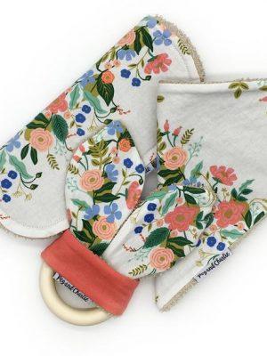 Floral Set - Dribble Bib, Burp Cloth & Teething Ring