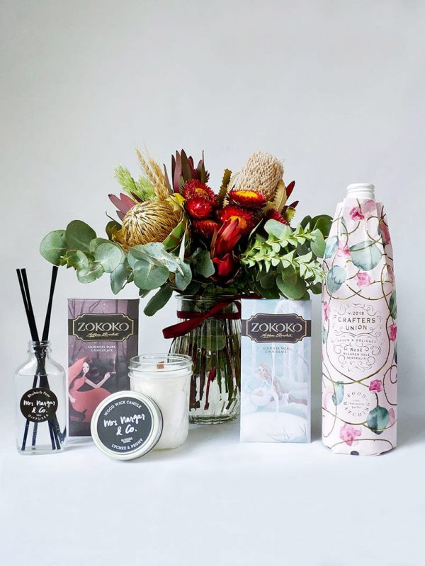 Sweet Thing Gift Pack - Includes Posy, 2 Zokoko Chocolate Bars, Crafters Union Rose, Mrs Nargar & Co Candle and Diffuser