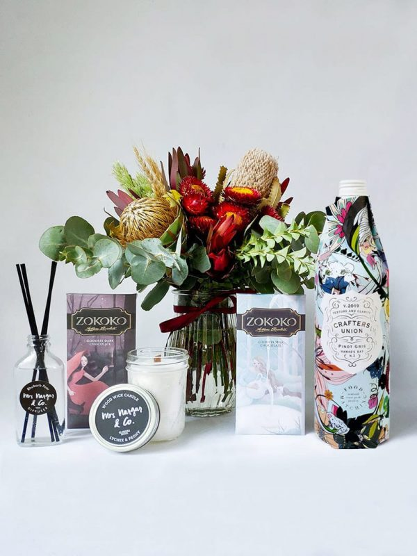 Sweet Thing Gift Pack - Includes Posy, 2 Zokoko Chocolate Bars, Crafters Union Pinot Gris, Mrs Nargar & Co Candle and Diffuser