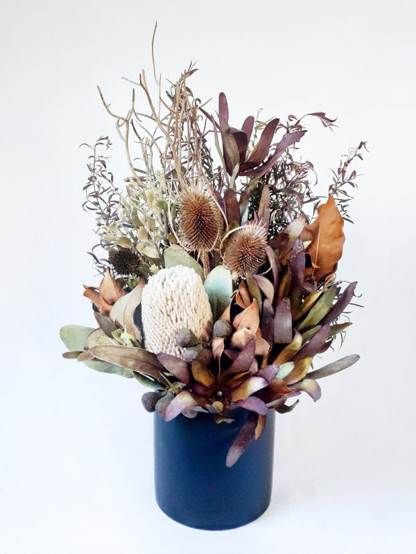 Small Dried Flower Bouquet in Black Ceramic Vase