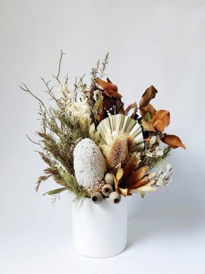 Small Dried Flower Bouquet in White Ceramic Vase