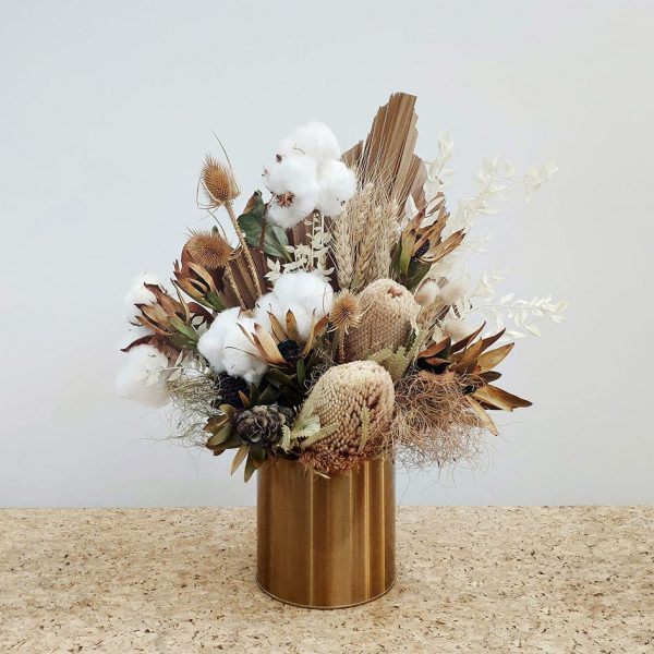 Small Dried Flower Bouquet Posy in Metal Pot