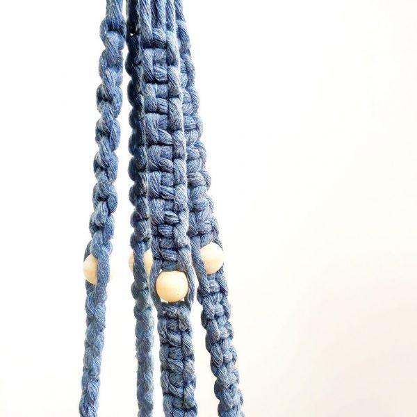 Blue Handmade Macrame Hanger by Pot and Posy