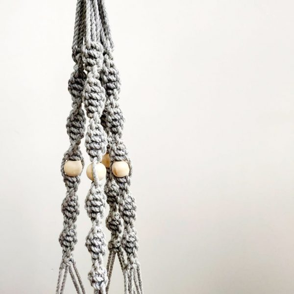 Grey Handmade Macrame Hanger by Pot and Posy