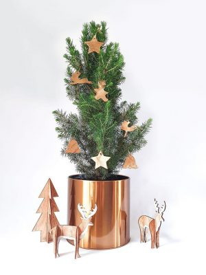 Christmas Tree decorated with hand-made golden clay ornaments by Pot and Posy