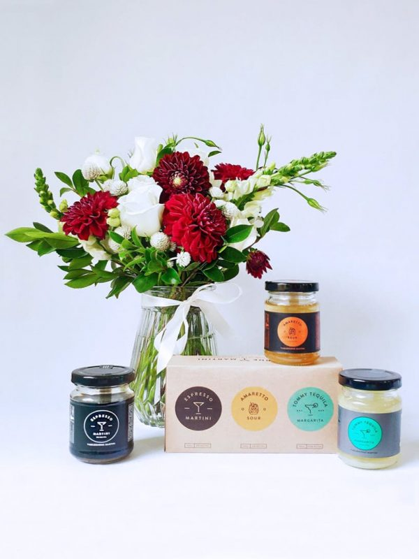 A Little Tipple Gift Pack with Small 'Surprise Me' Posy in Vase & Melbourne Martini 3 Drink Pack