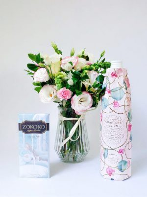 Delightful Trio Gift Pack with Small Vintage Posy Crafters Union Rose and Zokoko Chocolate
