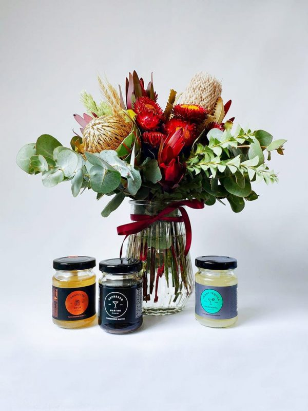 A Little Tipple Gift Pack with Small Natives Posy in Vase and 3 Melbourne Martini Cocktails