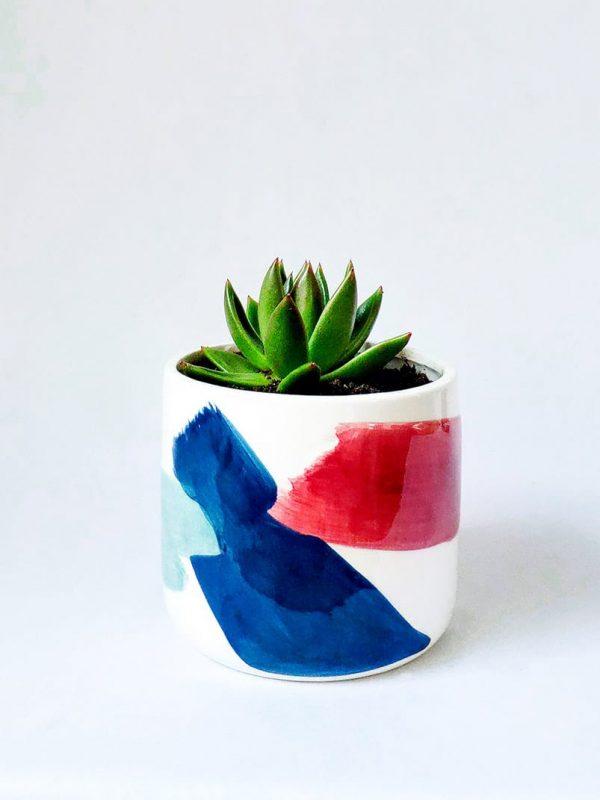 Brushstrokes Succer Succulent Pot