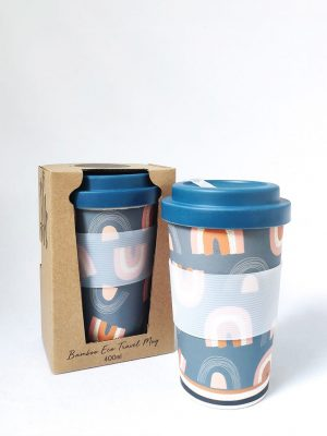 Retro Rainbows Eco Cup and Packaging